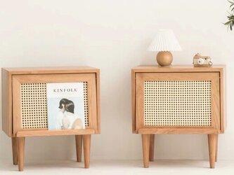 受注生産 職人手作り ベットサイドテーブル ラタン編み プリンター台 天然木 無垢材 家具 シンプル エコ LR2018の画像
