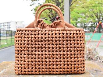 山葡萄(やまぶどう)籠バッグ | 石畳編み  | 巾着と中布付き | (約)幅35cmx高さ22cmx奥行12cmの画像
