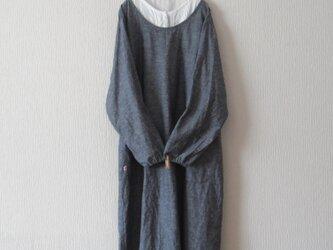 綿麻のかっぽう着 紺の画像