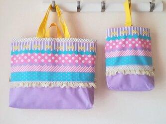 入園入学バッグ セット  短い持ち手付 ガーリーストライプ柄の画像