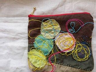 リネン に 刺繍 ポーチ  刺し子 小物    no.45の画像