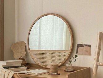 受注生産 職人手作り シンプル 木製ラウンドミラー 壁掛け 化粧鏡 天然木 木目 無垢材 北欧雑貨 エコ LR2018の画像