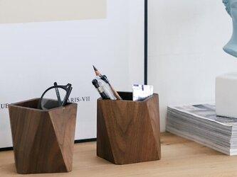 受注生産 職人手作り ペンホルダー 小物 オフィス 収納 無垢材 木目 木工 ウォールナット 天然木 エコ LR2018の画像