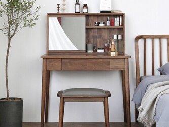 受注生産 職人手作り 化粧台 ドレッサー 鏡台 寝室 木目 天然木 家具 無垢材 ウォールナット エコ LR2018の画像