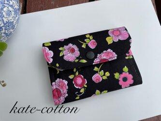 ■訳あり! ディスカウント! ミニ財布⭐︎ロラライ・ハリス⭐︎花柄ピンクxブラック・USAコットンの画像