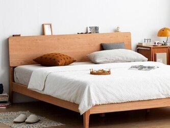 受注生産 職人手作り ベッドフレーム セミダブルベット 寝室 天然木 家具 寝具 木目 無垢材 木工 エコ LR2018の画像