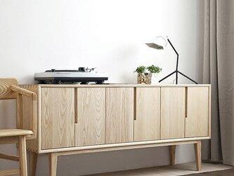 受注生産 職人手作り サイドボード キャビネット 収納棚 家具 天然木 木目 収納家具 木工 無垢材 エコ LR2018の画像