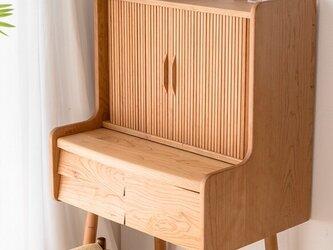 受注生産 職人手作り 化粧台 ドレッサー 鏡台 テーブル 机 おうち時間 木目 天然木 北欧家具 無垢材 LR2018の画像