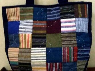 No.207 浜松綿紬の市松バッグの画像
