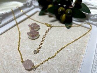 天然石ローズクォーツのネックレス&ピアスorイヤリング2点セット★の画像