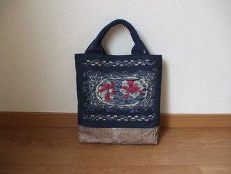 藍染名古屋帯のお太鼓柄を活かしたおしゃれなトートバック 絹の画像