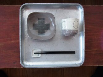 足付角皿 (大)陶器 プラスの画像