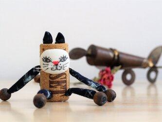古布のコルク人形 ねこちゃんシリーズ Cの画像