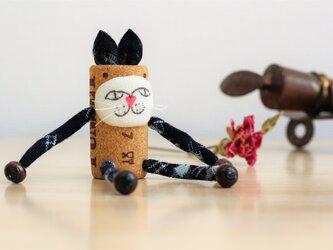 古布のコルク人形 ねこちゃんシリーズ Eの画像