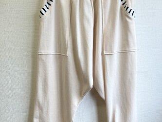 NEWバージョン★男女兼用❤️薄手カットソー素材ボーダーポケットのサルエルパンツ 淡いピンク(メンズ L、レディースL L)の画像