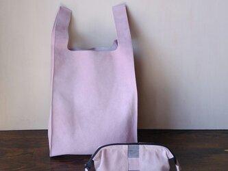ピッグスエードのサブバッグとポーチのセット ライトピンクの画像