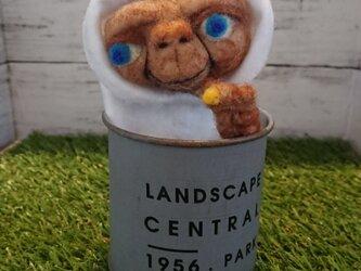 羊毛フェルト エイリアン  ブリキ缶の画像