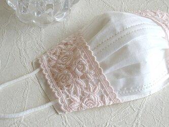 リネン &高級エンブロイダリーレース 不織布 マスクカバー 薔薇シェルピンクの画像