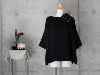 着物リメイク チュニックブラウス/フリーサイズ/ブラックの画像