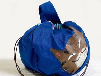 キジ猫巾着バッグ(青×ストライプ)の画像
