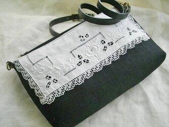 黒リネン*アンティークレース*フランス*手刺繍*持ち手2種*ショルダーバッグの画像