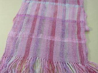 ローズピンク 手織り マフラー MUF101A-2  シルク  ウール  ラメ糸   ふんわり 明るいの画像
