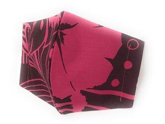 ハワイアン ファブリック ファッション・3Dマスク(扇型) ハイビスカス柄 ピンク Mサイズ [mfm3Q-042M]の画像