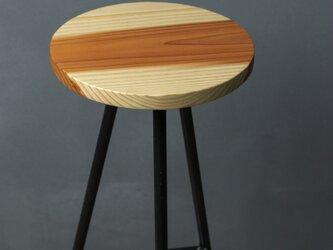 [訳アリ10%SALE]無垢材とアイアンのスリムテーブルの画像