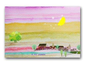 「ささやかな暮らしが幸せ」三日月 街 星 ほっこり癒しのイラストポストカード2枚組 No.1329の画像