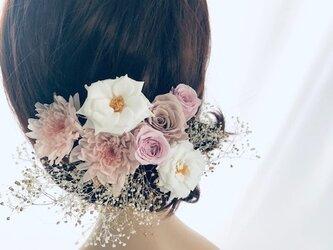 プリザーブドフラワー/ヘッドドレス•くすみピンクとカスミ草(成人式 前撮り和装ウェディング)の画像