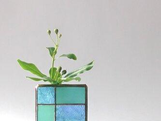 ガラスブロックの一輪挿し【h】の画像