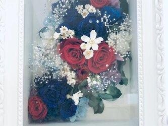 プリザーブドフラワー 青と赤い薔薇の立体フレームアレンジ冷静と情熱の画像