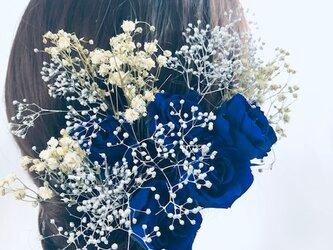 【ヘッドドレス/髪飾りプリザーブドフラワー/ウェディング・前撮り和装】青の薔薇の画像