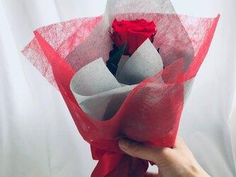 【プリザーブドフラワー/赤薔薇のふんわり一輪ラッピング】の画像