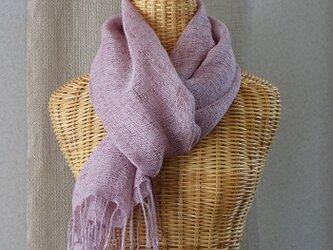 手織りリネンストール・・オールドローズの画像