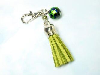 ホタル玉のタッセルキーホルダー*グリーンの画像