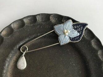 紫陽花 刺繍ストールピン(ブルー)《受注制作》の画像