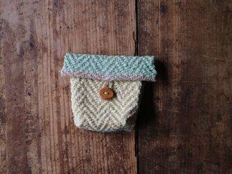裂き織りミニケース(手織り) ヘリンボーンの画像