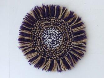 ウールのフリンジコースター(紫色)の画像