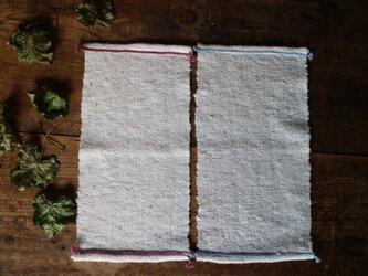 手紡ぎコットンミニミニハンカチ 手織りの画像
