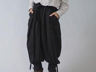 【wafu】linen100% 忍者パンツ ninja japan 男女兼用 中厚リネン/ブラック b005e-bck2の画像