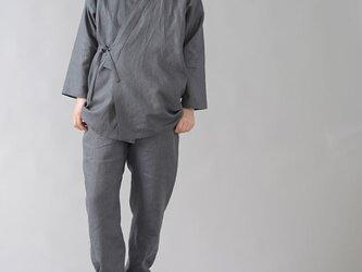 【wafu入門編】ネップあり! 作務衣 上下セット 男女兼用/ディムグレー r008j-dmg2の画像