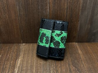 【金運アップに!】珍しいアナコンダ使用のカードサイズミニ財布の画像