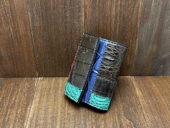 オシャレなつぎはぎクロコダイルのカードサイズミニ財布の画像