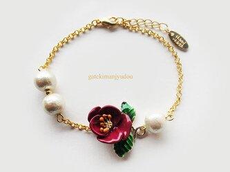 花とコットンパールのブレスレット【長さ変更可】の画像