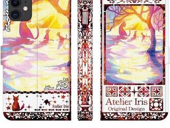 【雪原さんぽ】猫 油絵 iPhone 手帳型 スマホケース 携帯ケース 送料無料 白地レッドの画像