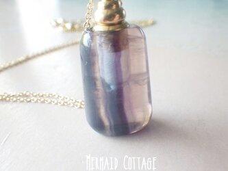 フローライトの香水瓶アロマネックレス☆天然石アロマボトルの画像