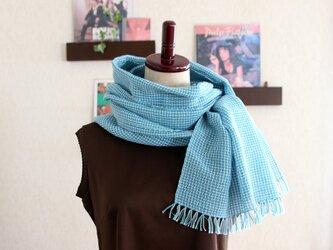 リネン×コットン 手織りストール  (ターコイズxミントグリーンxホワイト)の画像