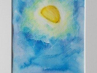 絵画 インテリア 水彩画 額絵 月の見える風景の画像