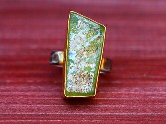 古代スタイル*ローマンガラス 指輪*9号 SVの画像